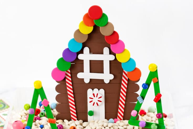 Cute Gingerbread house ornaments from Popsicle sticks