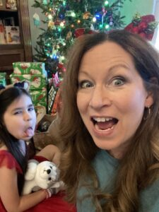 Making funny faces with a grandchild