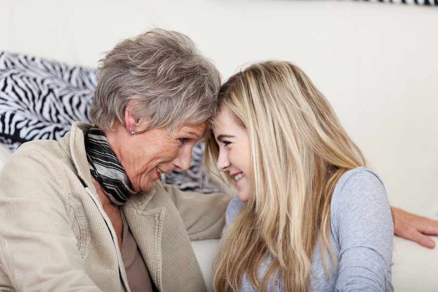 How to stay close to teenage grandchildren. Picture of grandmother and granddaughter