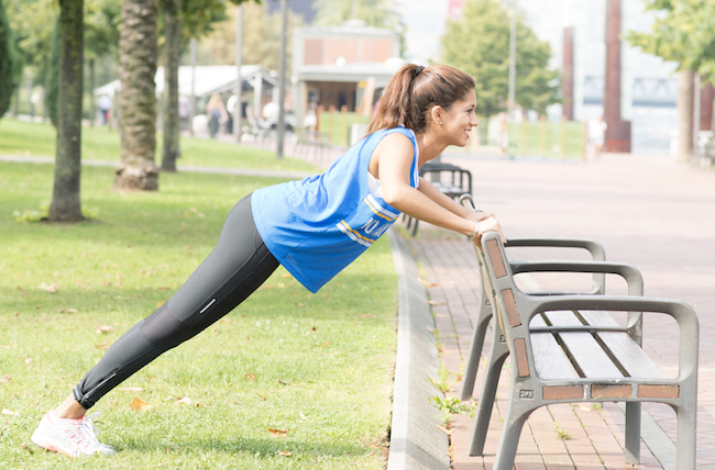 When you learn to do a pushup, you can start on an incline to build strength and stability.