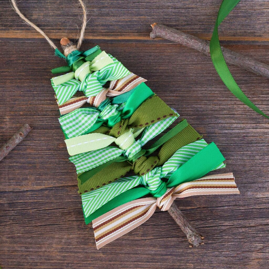 Scrap ribbon Christmas tree ornaments