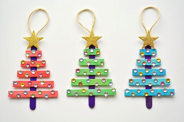 Glittery Christmas tree ornaments to make with grandchildren