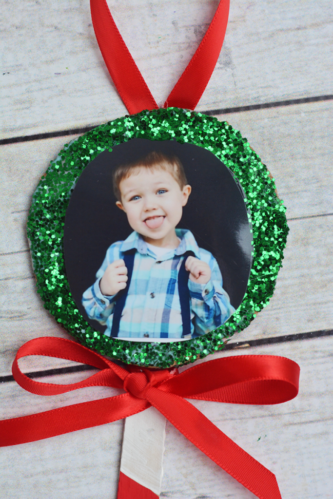Cute Lollipop Photo Frame Christmas Ornament to make with Grandchildren