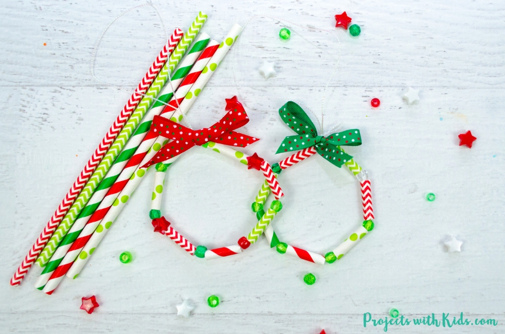 Paper Straw Wreath Ornaments