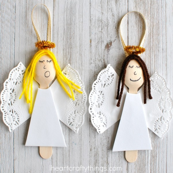 Angel ornaments made from wooden sppons
