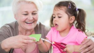 Grandmother and Granddaughter crafting together